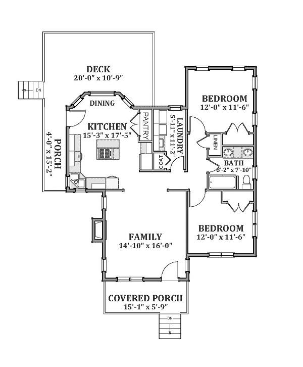 Этот практичный проект одноэтажного дома  12 на  площадью  до 100 кв.м с 2 спальнями подходит для постоянного проживания. Также перед домом есть веранда..