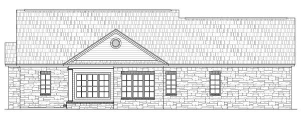 Вид сзади План 1-этажного дома с 3 спальнями и комнатой для домработницы
