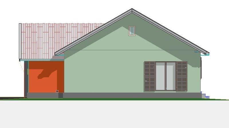 Проект одноэтажного дома из газобетона в американском стиле площадью до 150 кв.м с  3 спальнями для постоянного проживания. Сзади дома терраса в нише. В доме тамбур и большая котельная.