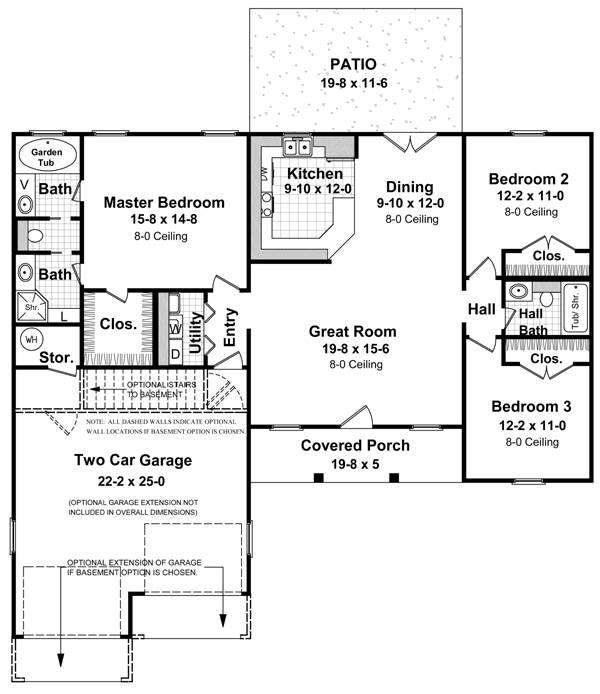 План 1 этажа План одноэтажного дома с гаражом до 150 кв.м
