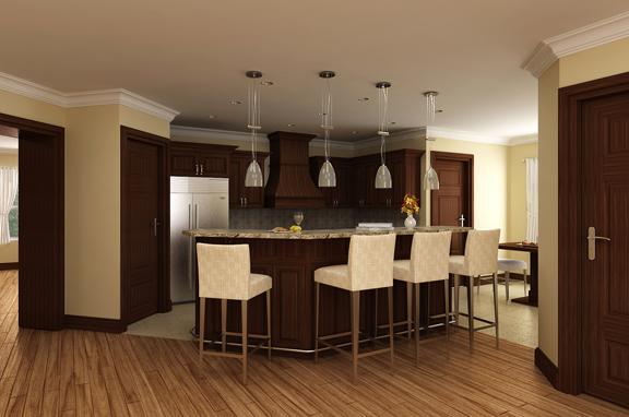 Кухня Проект красивого одноэтажного дома HD-4446-1-3 с внутренним двориком в стиле кантри