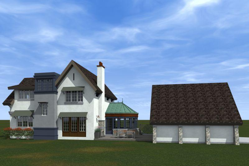 Вид дома по проекту HP-3393-2-3 с улицы  Проект эксклюзивного дома для Сибири с асимметричной крышей