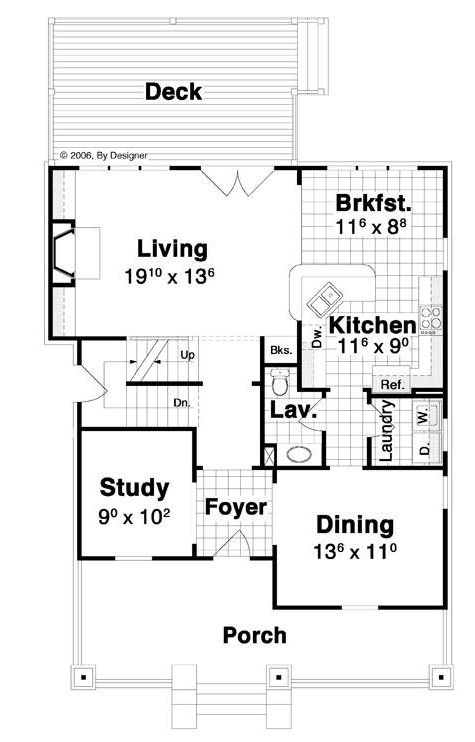 План 1 этажа Проект двухэтажного каркасного дома с подвалом, верандой и кабинетом