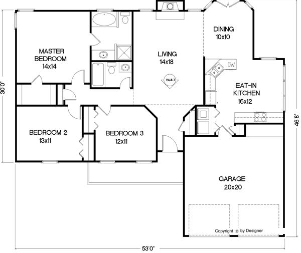 Этот популярный проект одноэтажного дома  площадью  до 150 кв.м с гаражом на 2 машины и с 3 спальнями подходит для постоянного проживания.