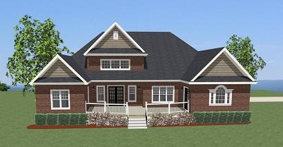 Вид сзади Проект двухэтажного дома в стиле кантри Н-образной формы с большой террасой и гаражом