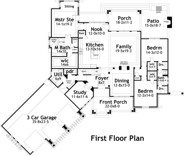 План 1 этажа Проект одноэтажного дома в стиле прованс с гаражом на 3 машины