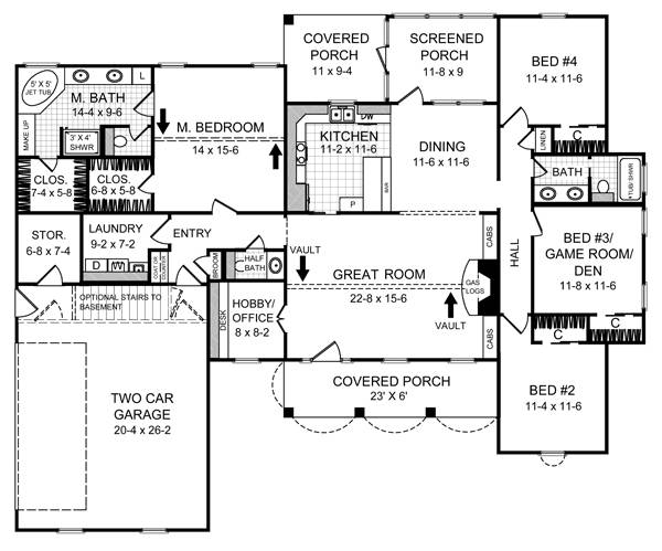 This house facade has and faced with . completes the look of this house. House plan is 67 feet wide by 55 feet deep and provides 2019 square feet of living space in addition to a two-car garage with a workshop Space includes a split-level entrance hall, split levels, with a walk-in closet, with a staircase to the upper level, with a staircase to the basement, Great Room, with a staircase to the upper level, an entry to the deck, a separate kitchen, the Master Bedroom, with a five pieces bathroom, with a walk-in closet, additional Bedrooms, with a walk-in closet, with Jack and Jill bathroom. An open layout maximizes the use of the living space.