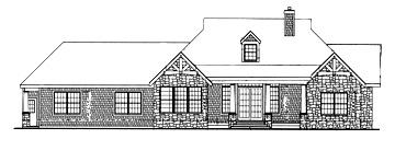 Вид сзади План красивого одноэтажного дома с открытыми стропилами и балками