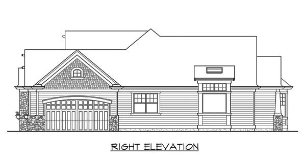Вид справа План 1-этажного дома с красивой крышей
