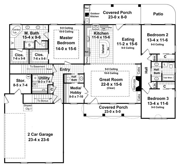 План 1 этажа Проект красивого одноэтажного кирпичного дома с мансардными окнами на крыше
