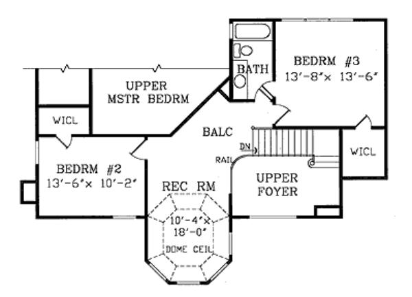 План 2 этажа Проект дома с полукруглой столовой и башенкой