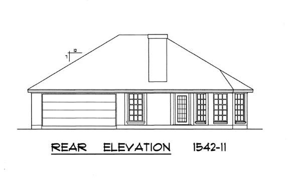 Вид сзади План 1-этажного дома 15x15 с кирпичным фасадом