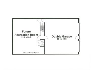 План подвала Проект одноэтажного дома в скандинавском стиле с гаражом в подвале