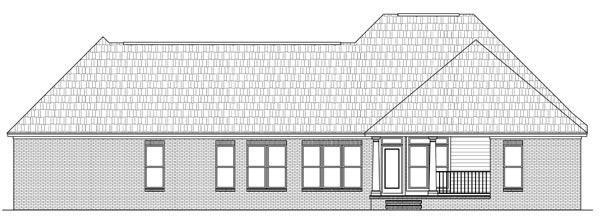 Вид сзади Проект одноэтажного кирпичного дома в английском стиле с мансардной крышей