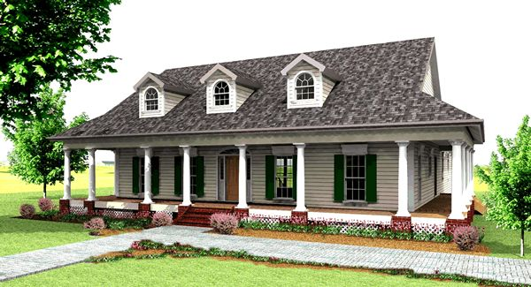 Уютный дом План 1-этажного дома Г-образной формы с большими верандами