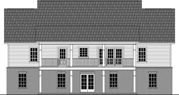 Вид сзади Проект одноэтажного дома прямоугольной формы с верандами с двух сторон