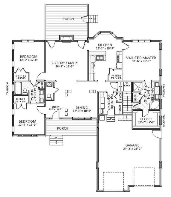 Проект каркасного дома План 1-этажного дома 18x23 176 кв м