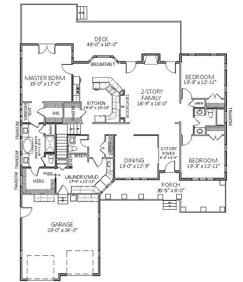 План 1 этажа Дом с верандой и парадной столовой