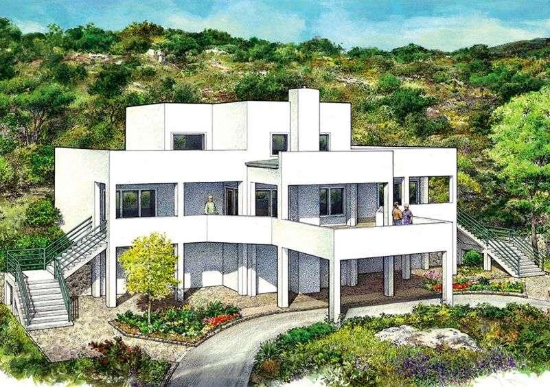 Этот привлекательный проект двухэтажного каркасного дома в современном стиле площадью  до 250 кв.м с гаражом на 2 машины и с 3 спальнями подходит для постоянного проживания. В проекте дома есть терраса..