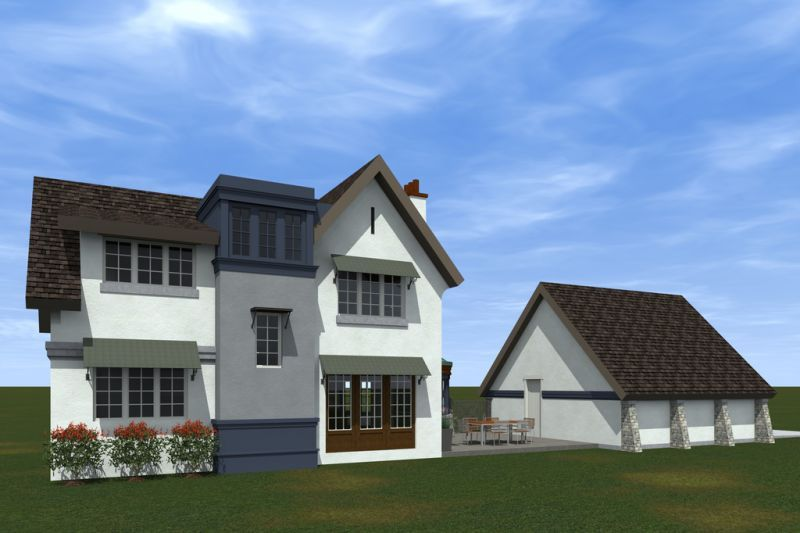 Вид с улицы дома и отдельного гаража по проекту HP-3393-2-3 Проект эксклюзивного дома для Сибири с асимметричной крышей