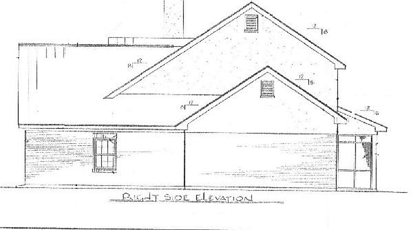 Вид справа План 2-этажного дома 14x16 с застекленной верандой