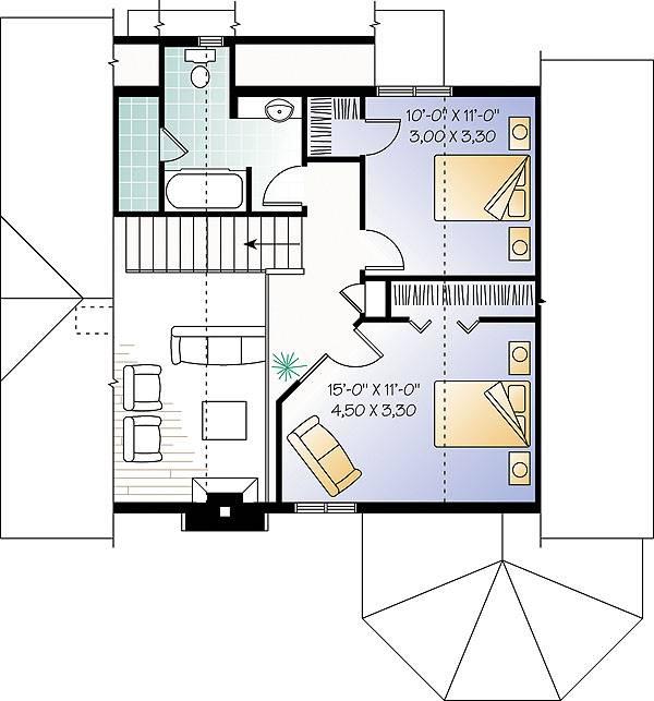 Этот привлекательный проект одноэтажного дома с мансардой в стиле кантри 10 на 9 метров площадью  до 150 кв.м с 3 спальнями подходит  для дачи . Также перед домом есть веранда..