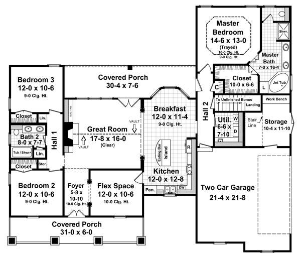 План 1 этажа Проект одноэтажного дома  до 200 кв.м в стиле прованс с верандой