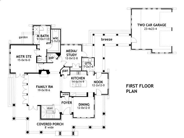План 1 этажа План 2-этажного дома с отдельным гаражом, соединенного колоннадой