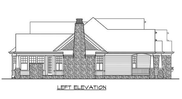 Вид слева План 1-этажного дома с красивой крышей