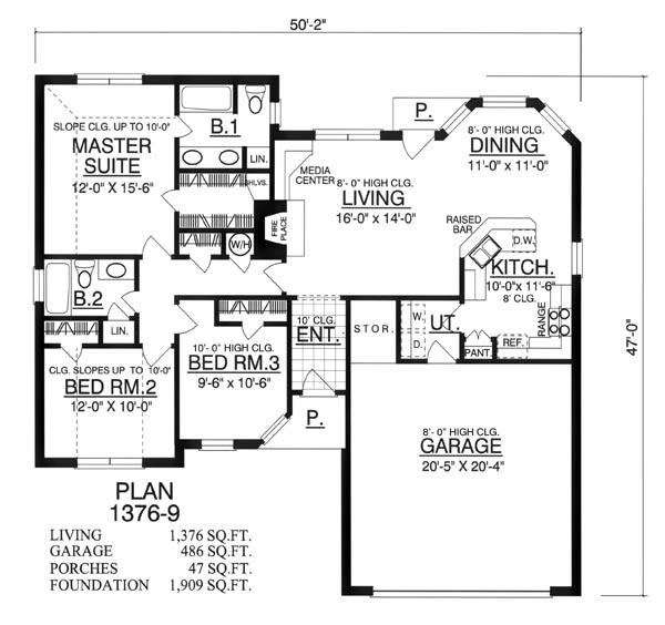 Этот популярный проект одноэтажного дома  площадью  до 150 кв.м с гаражом на 2 машины и с 3 спальнями подходит для постоянного проживания. Также перед домом есть веранда..