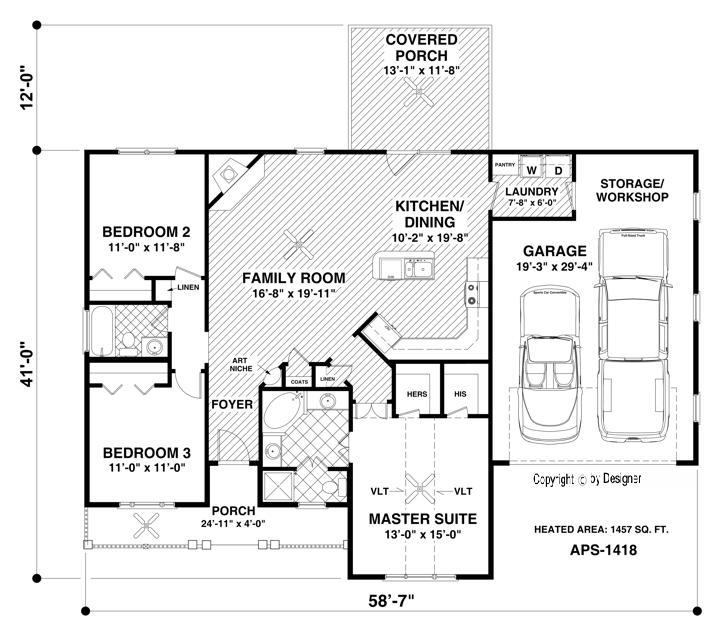 Этот красивый проект одноэтажного дома в финском стиле площадью  до 150 кв.м с гаражом на 2 машины и с 3 спальнями подходит для постоянного проживания. Планировка с верандой.