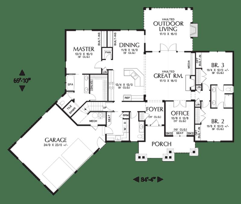 Этот красивый проект одноэтажного дома в американском стиле площадью  до 250 кв.м с гаражом на 2 машины и с 3 спальнями подходит для постоянного проживания. В большой спальне есть ванная. Также перед домом есть веранда..