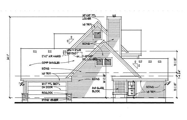 Вид справа План 2-этажного дома 17x18 181 кв м