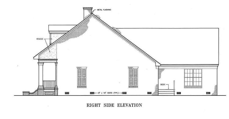 Вид справа План 1-этажного дома с кабинетом около спальни