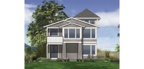 Замечательный проект двухэтажного каркасного дома в современном стиле 9 на  площадью  до 200 кв.м с гаражом и с 3 спальнями подходит для постоянного проживания. В большой спальне есть ванная. Также сзади дома пристроена веранда..