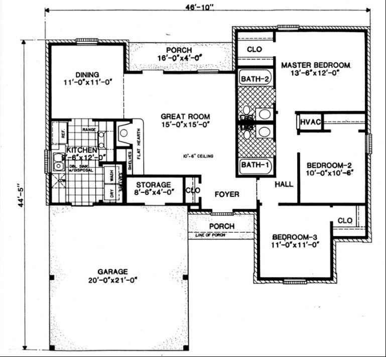 Этот удобный проект одноэтажного дома в американском стиле площадью  до 150 кв.м с 3 спальнями подходит для постоянного проживания. Также перед домом есть веранда..