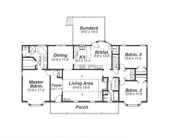 План 1 этажа Проект 1-этажного дома 19x8 165 кв м