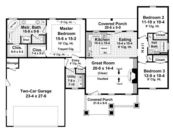 Отличный проект одноэтажного дома  площадью  до 150 кв.м с гаражом на 2 машины и с 3 спальнями подходит для постоянного проживания. В большой спальне есть ванная. Также перед домом есть веранда..