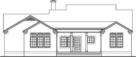 Уютный дом План 1-этажного дома с кирпичной облицовкой и колоннами