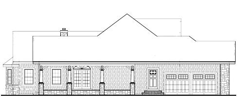 Вид слева План 1-этажного дома JA-4937-1-3 в стиле кантри