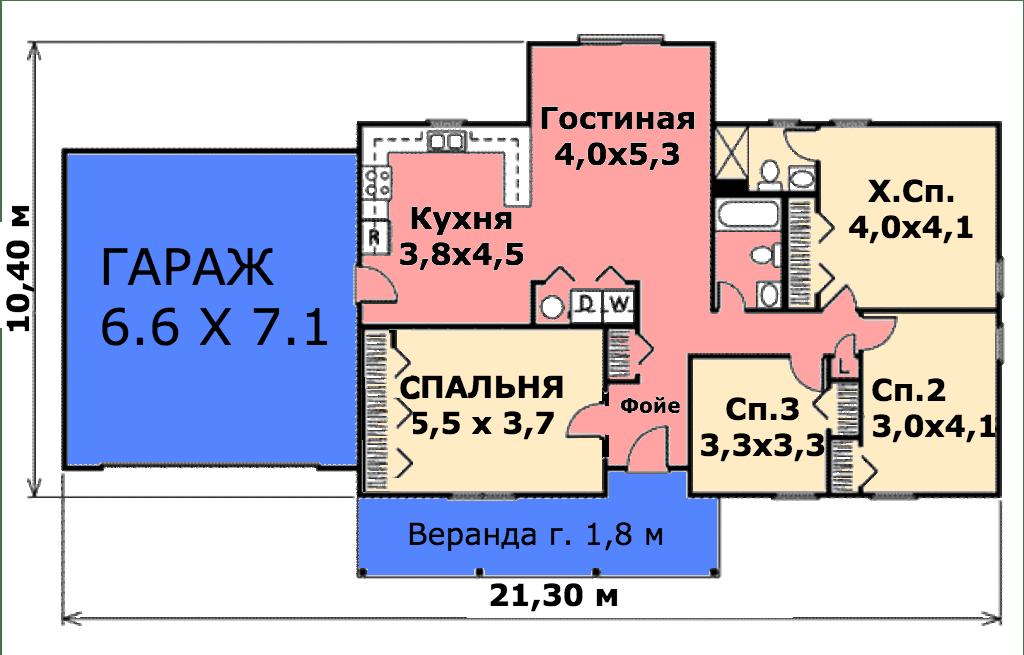 Этот удобный проект одноэтажного дома в финском стиле с верандой и площадью  до 150 кв.м с гаражом на 2 машины и с 4 спальнями подходит для постоянного проживания.