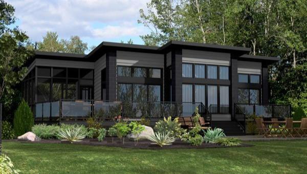 Этот практичный проект одноэтажного дома в современном стиле 11 на 11 метров площадью  до 150 кв.м с гаражом и с 2 спальнями подходит для постоянного проживания.