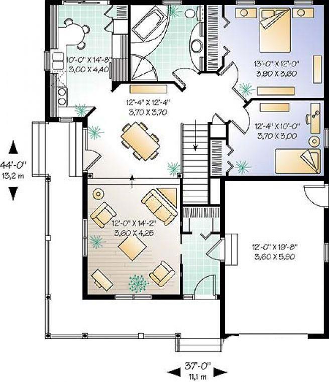 Отличный проект одноэтажного дома в английском стиле 11 на  площадью  до 150 кв.м с гаражом и с 2 спальнями подходит для постоянного проживания. В большой спальне есть ванная. Также перед домом есть веранда..
