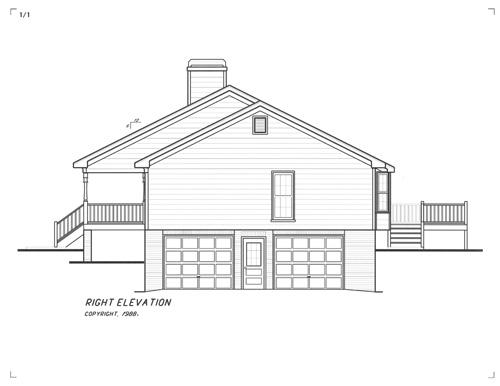 Вид справа Проект одноэтажного дома в скандинавском стиле с гаражом в подвале