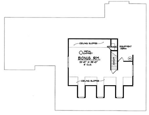 План 2 этажа Проект дома с верандой, слуховыми окнами на двускатной крыше и пристроенным гаражом на две машины