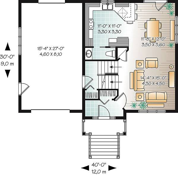 Этот прекрасный проект двухэтажного каркасного дома  12 на 9 метров площадью  до 200 кв.м с гаражом и с 4 спальнями подходит для постоянного проживания. Также перед домом есть веранда..