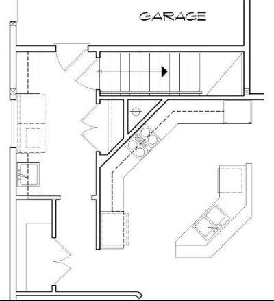 Вариант расположения лестницы в подвал Проект одноэтажного дома в стиле кантри для углового участка