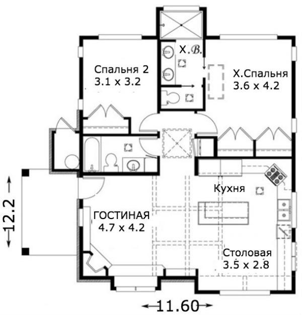 Этот симпатичный проект одноэтажного дома с мансардой в дачном стиле 11 на 12 метров площадью  до 150 кв.м с 2 спальнями подходит  для дачи . В большой спальне есть ванная и гардеробная комната. Также перед домом есть веранда..