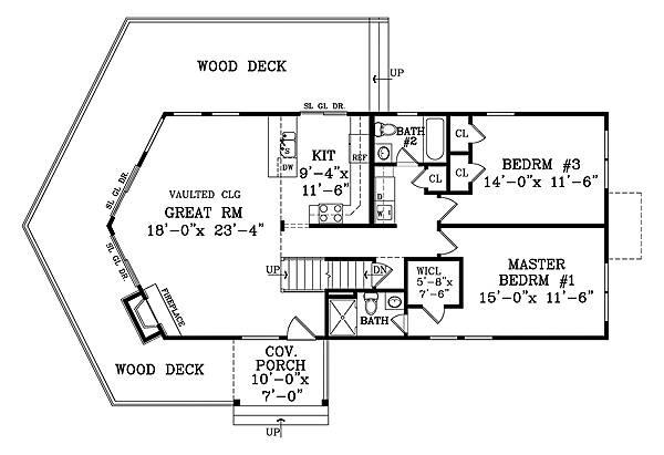 План 1 этажа План одноэтажного дома с мансардой в стиле шале JA-1878-2-3