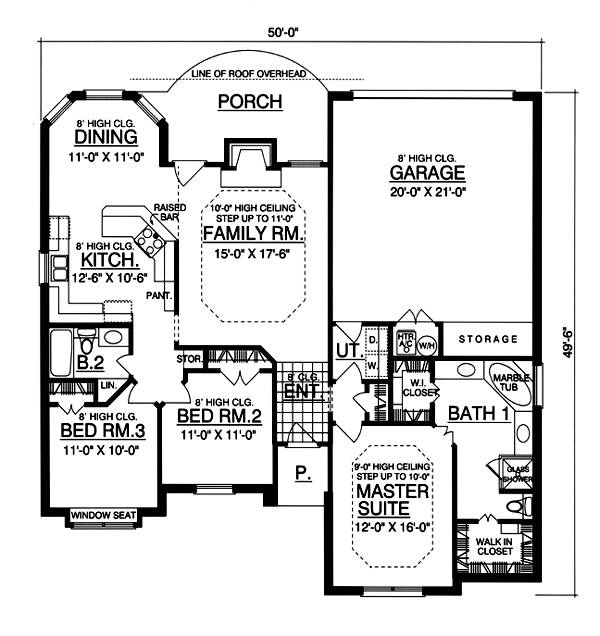 План 1 этажа План 1-этажного дома 15x15 с кирпичным фасадом